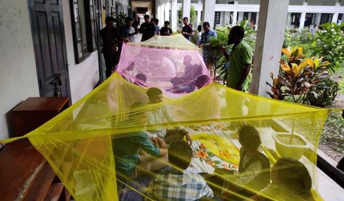 ফল প্রকাশে বিলম্ব হওয়ায় মশারি টানিয়েই আন্দোলনে রাবি শিক্ষার্থীরা