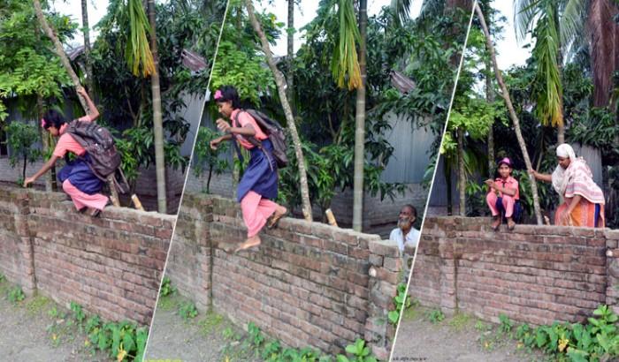 দেয়াল টপকে স্কুলে যায় মৌটুসি