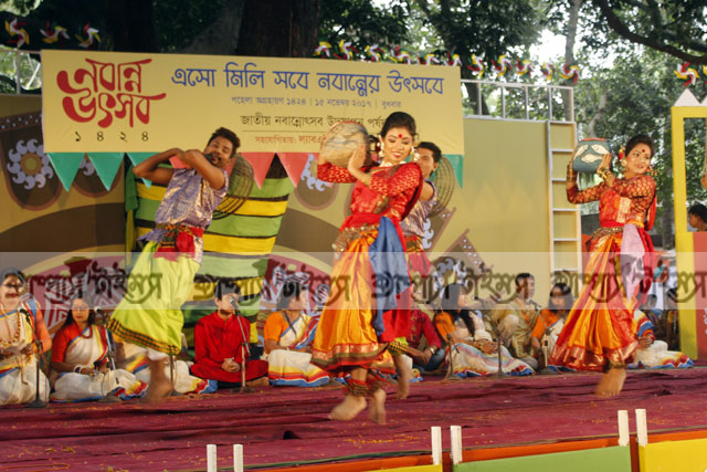 Cultural activists celebrate Nobanno Utsav in Dhaka